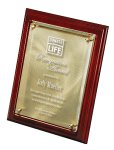 Mahogany Finish Board with Gold Swirl Plate Under Lasered Raised Lucite Achievement Awards
