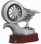 Resin Figure - Racing Wheel  Bright Silver Mercury Abstract Resin Trophy Awards