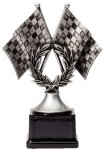 Resin Figure - Motor Sports Crossed Flags Car/Automobile Trophy Awards