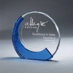 Clear Glass with Textured Blue Glass Circle Awards