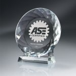 Round Crystal Plate with Crystal Stand Clear Optical Crystal Awards
