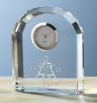 Faceted Arch Clock Clock Crystal Awards