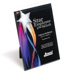 Streaming Star Lucite Plaque with Hanger/Easel Colored Acrylic Awards