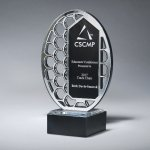 Reflective Excellence Oval with Silver Mirror Colored Acrylic Awards