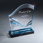 Lucite Wave Monument on Black Marble Base Colored Acrylic Awards