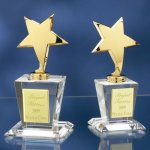 Brass Stars with Crystal Bases Crystal Glass Awards