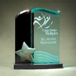 Patina Star Double Wave Jade and Black Lucite on Base Employee Awards