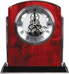 Rosewood Piano Finish Arch Clock with Silver Trim Employee Awards
