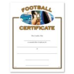 Football Certificate Award Fill in the Blank Certificates