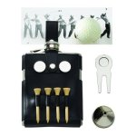 Golf Flask with Black Golf Case Golf Gift Items