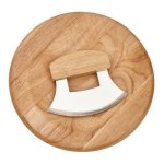 Ulu Knife with Round Wood Board  Kitchen Gifts