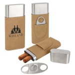 Leatherette Cigar Case with Cutter -Light Brown Misc. Gift Awards