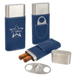 Leatherette Cigar Case with Cutter -Blue/Silver Misc. Gift Awards