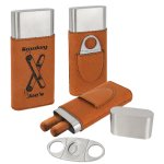 Leatherette Cigar Case with Cutter -Rawhide Misc. Gift Awards