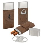 Leatherette Cigar Case with Cutter -Dark Brown Misc. Gift Awards