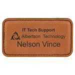 Leatherette Rectangle Name Badge With Magnet -Rawhide Name Badges   Plates