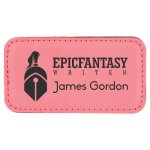 Leatherette Rectangle Name Badge With Magnet -Pink Name Badges   Plates