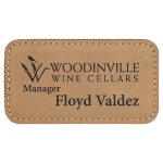 Leatherette Rectangle Name Badge With Magnet -Light Brown Name Badges   Plates