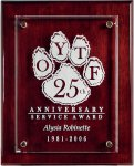 Rosewood Piano Finish Board with Raised Starphire Glass Piano Finish Plaques