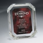Diamond Carved Octagon Plaque Red Optical Crystal Awards