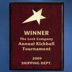 Piano Finish Wood Plaque with Brass Star Religious Awards
