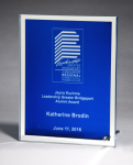 Glass Plaque with Blue Center and Mirror Border Square Rectangle Awards
