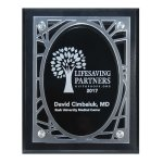 Frosted Acrylic Decorative Edge Cutout on Black Plaque Square Rectangle Awards