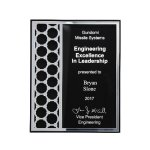 Acrylic Plaque with Mirror Cutout Hex Pattern Square Rectangle Awards