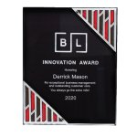 Black Acrylic Plaque with Accent and Mirror Corner Square Rectangle Awards
